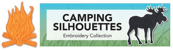 Camping Silhouettes Embroidery CD with SVG Files - Sew