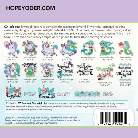 Mermaids & Unicorns Embroidery Collection with SVG Files